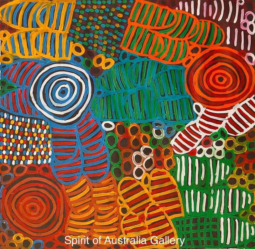 """Betty Mbitjana, """"Awelye, Bush Melon"""", 70x70cm"""