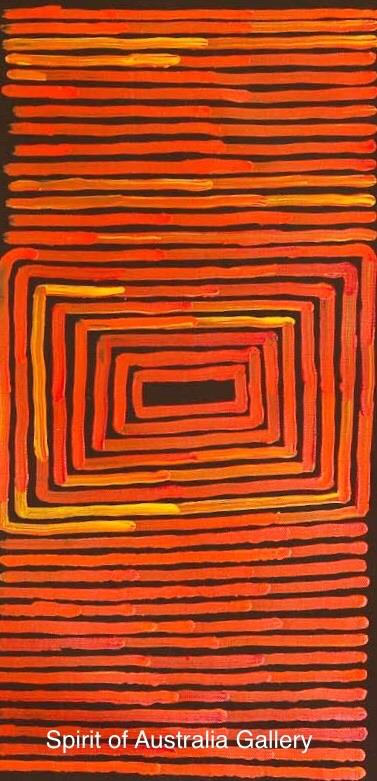 """Ronnie Tjampitjinpa, """"Tingari Cycle"""", 60x30cmn"""