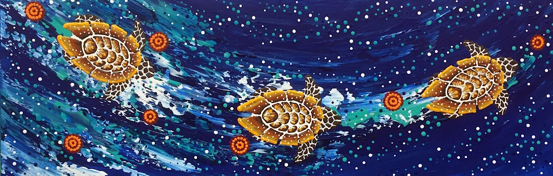 "Anthony Walker, ""Seven sister turtle increase song cycle"", 90x30cm"