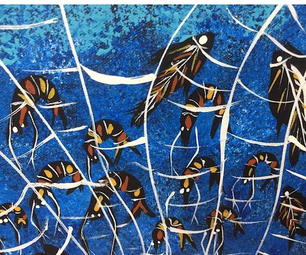 """John Turnbull, """"Spirits fishing for food"""", 50x50cm"""