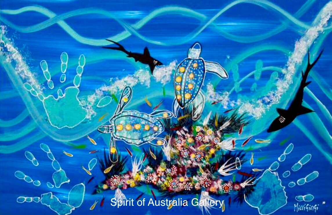 "Grant Ley Paulson, ""Reef Sharks"", 95x60cm"