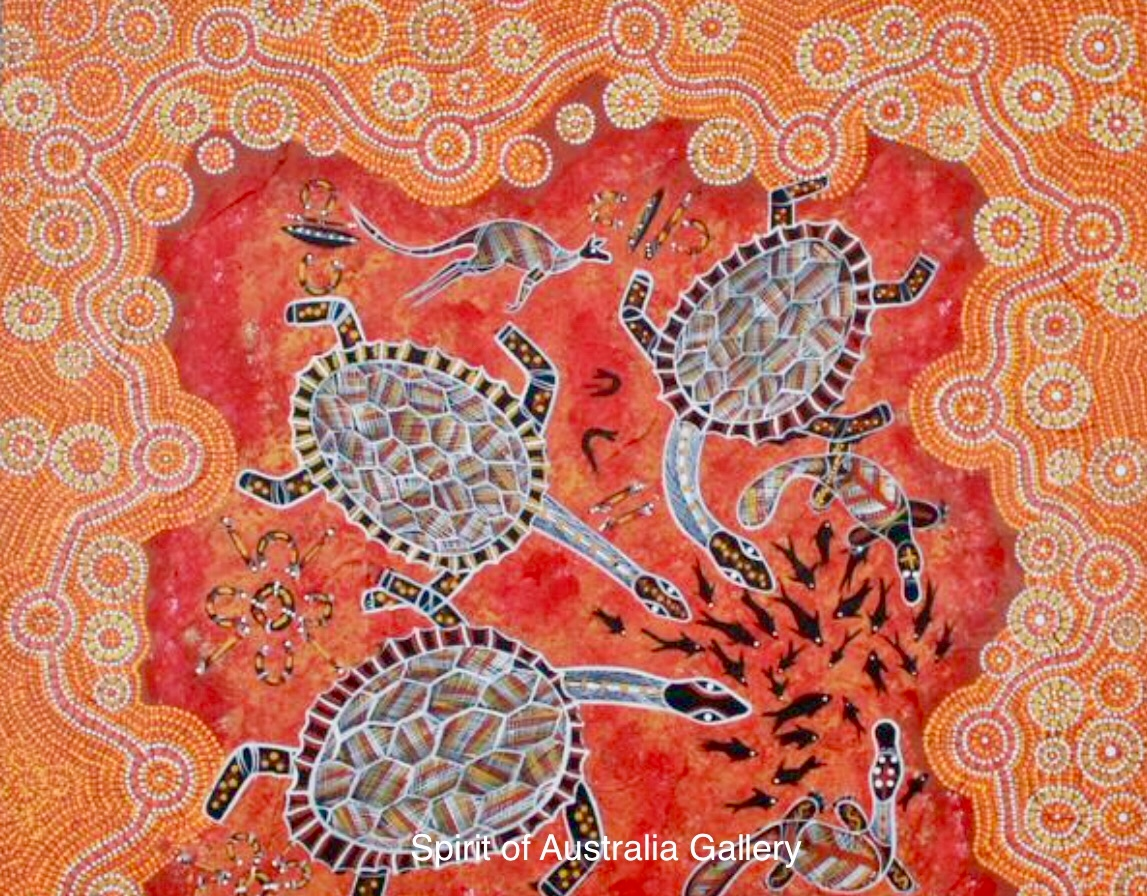 "John Turnbull, ""Long neck Turtles"", 75x75cm"