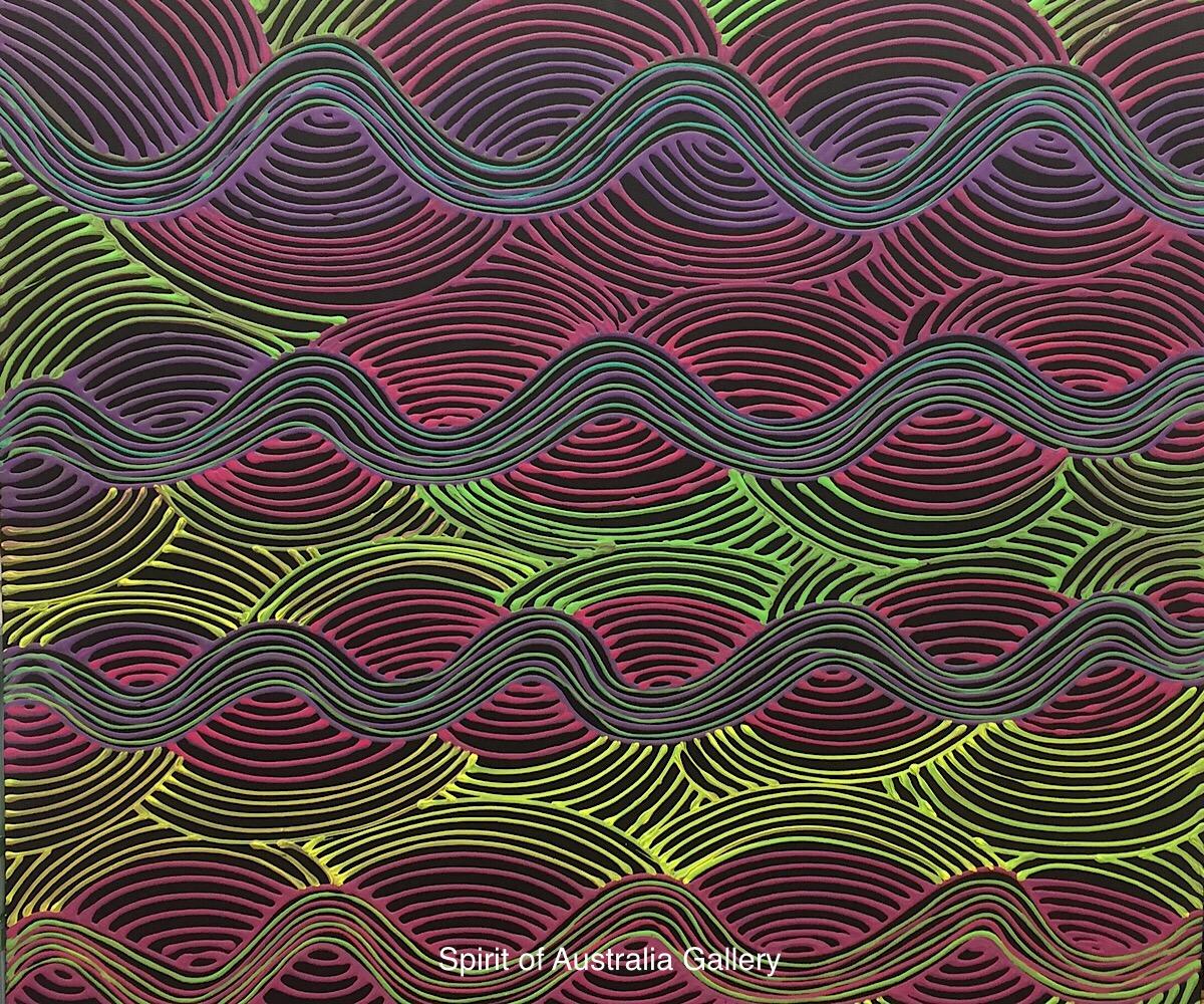 "Yondee, ""Rainbow Serpent"", 90cm x 90cm"
