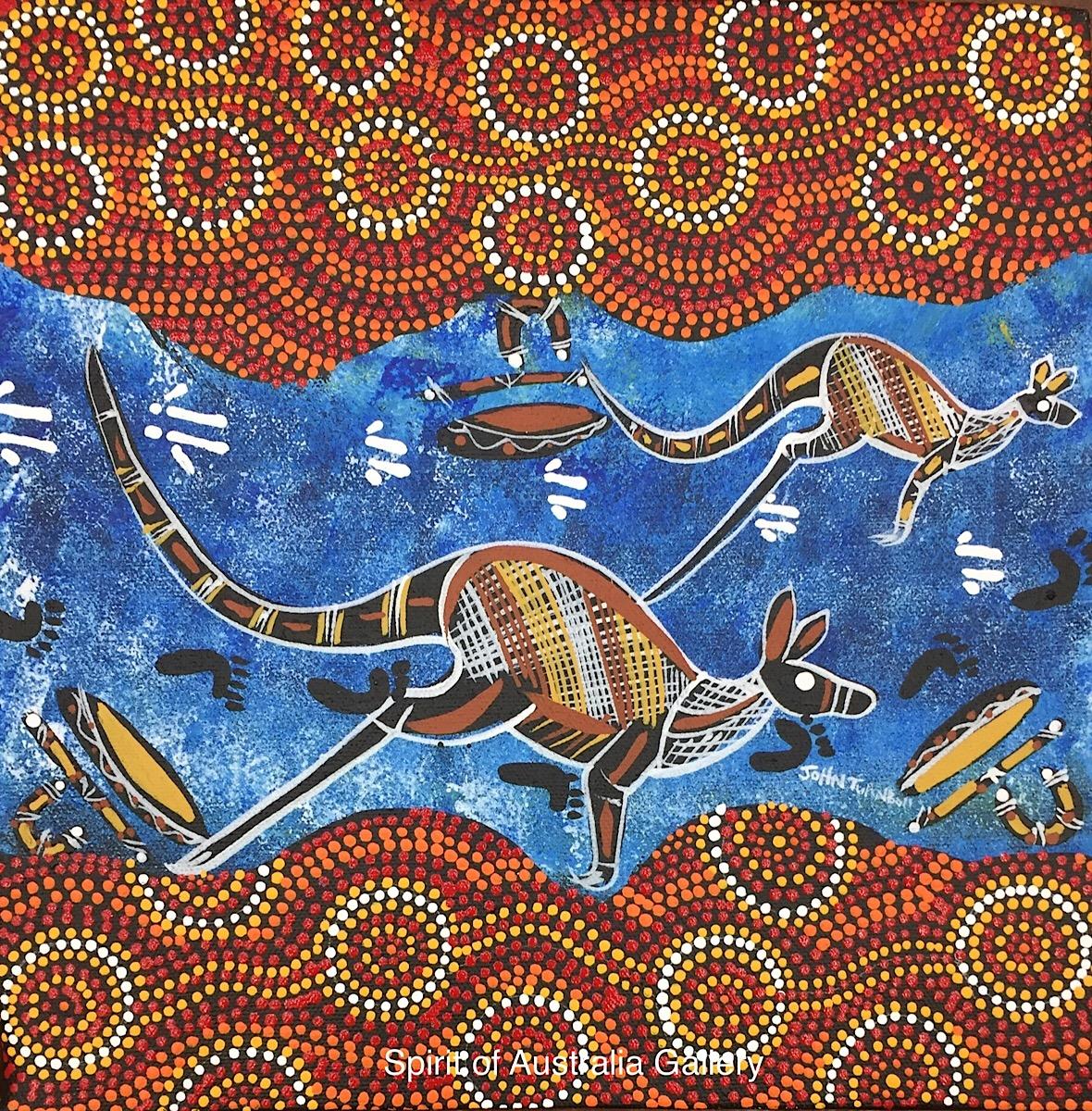 """John Turnbull, """"Kangaroos on river bank"""", 30x30cm"""