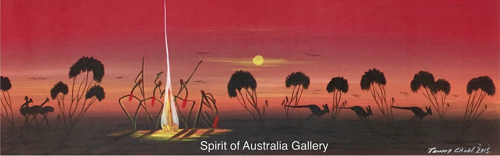 """Tommy Crow, """"Sunset Camp Fire Dreaming"""", 70x25cm"""