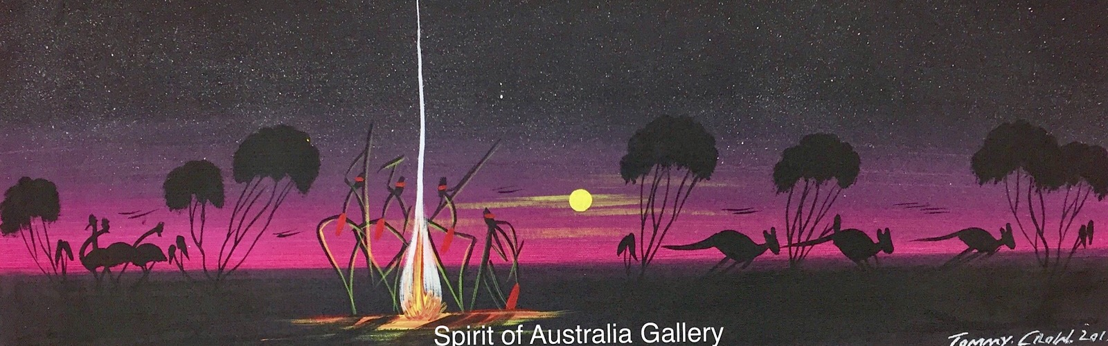 """Tommy Crow, """"Campfire Dreaming"""", 70x25cm"""