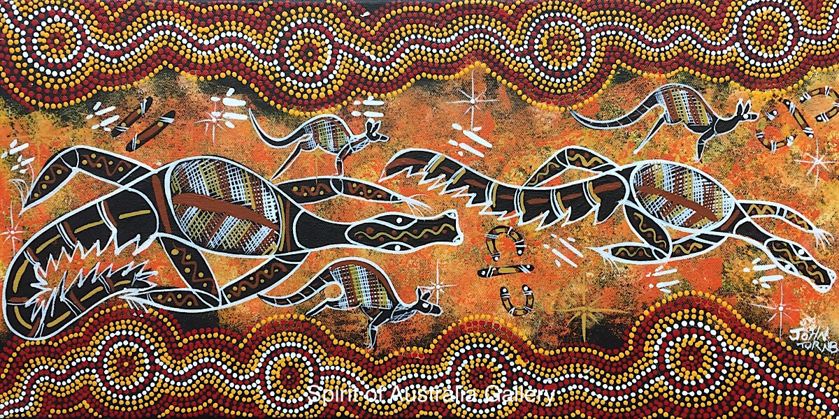 "John Turnbull, ""Crocs and Kangaroos on river bank"" 60x30cm"
