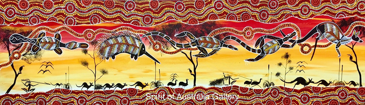 "John Turnbull, ""Animals around the river and Waterholes"", 150x45cm"
