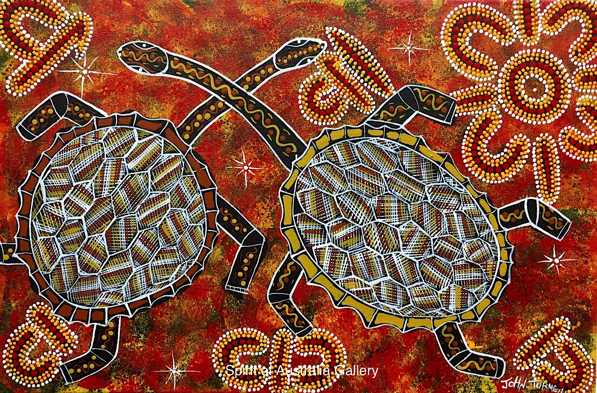 "John Turnbull, ""Longneck Turtles"", 60x40cm"