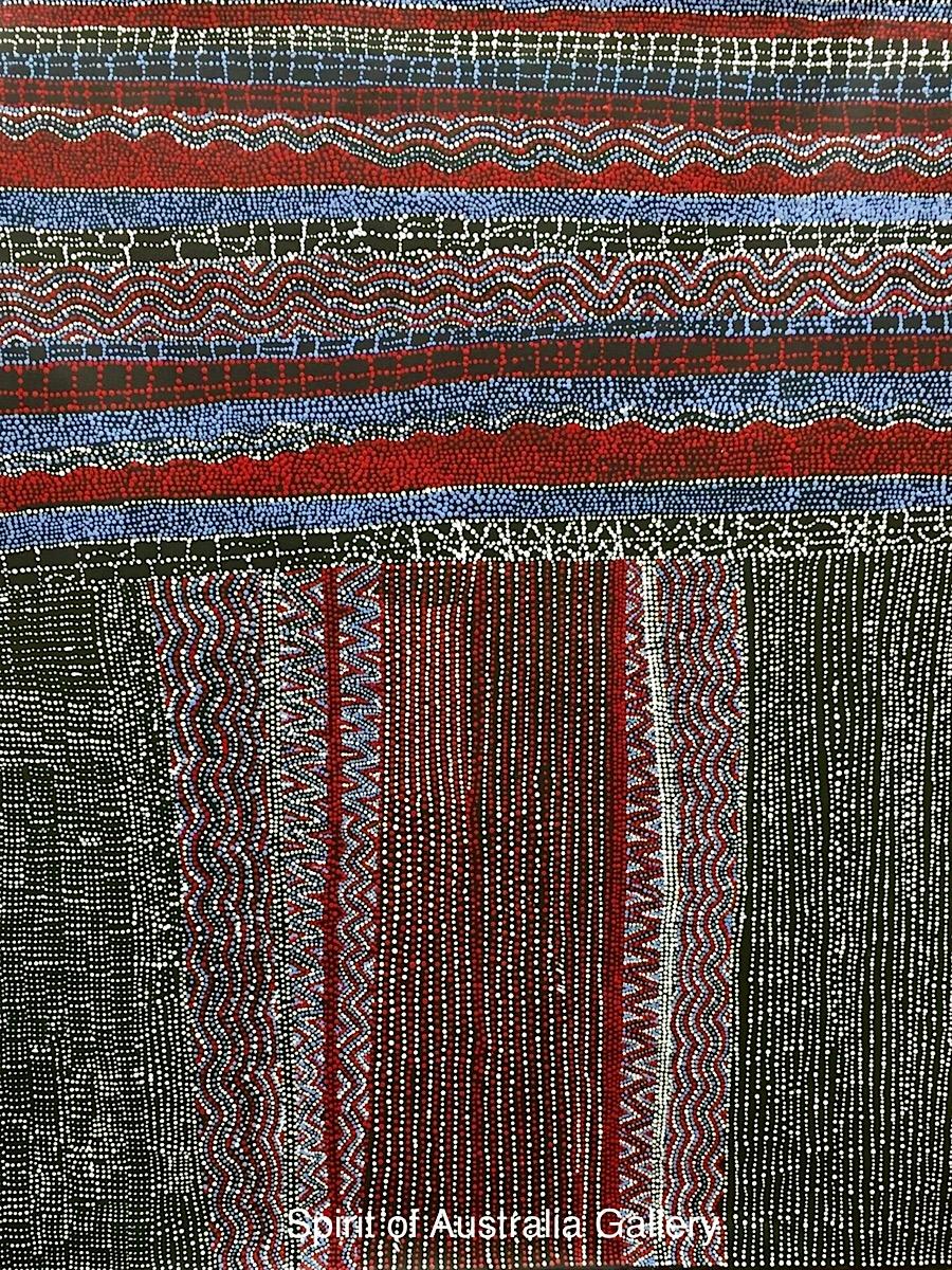 "Margaret Lewis Napangardi, ""Salt on Mina Mina"", 120x100cm"