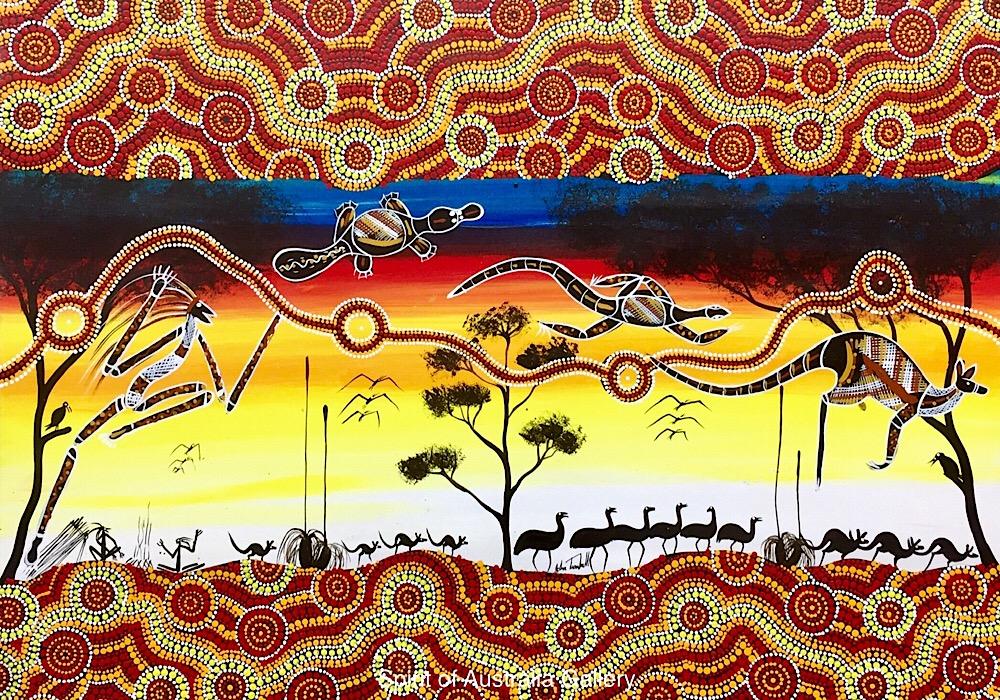 "John Turnbull, ""Spirit hunting on river bank"", 100x75cm"