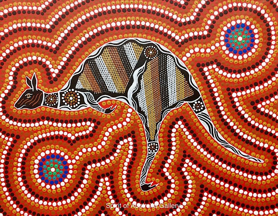 """Troy Little, """"Kangaroo and Waterholes"""", 50x40cm"""
