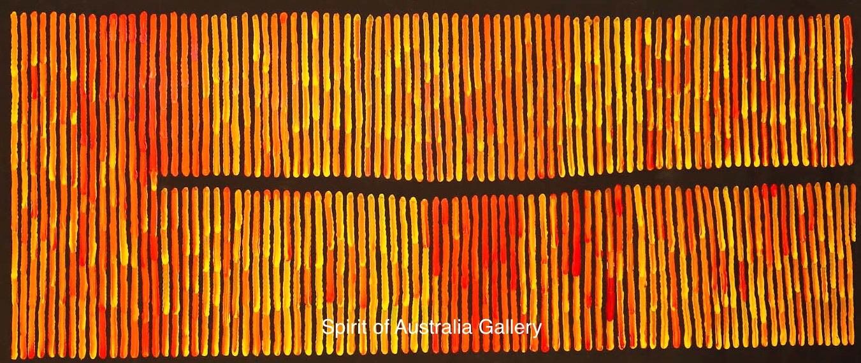 """Ronnie Tjampitjinpa, """"Fire Dreaming"""", 150x60cm"""