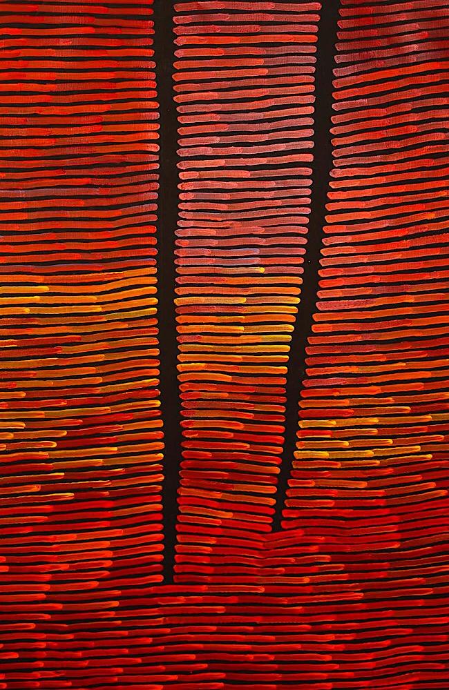 """Ronni Tjampitjinpa, """"Fire Dreaming"""", 190x160cm"""
