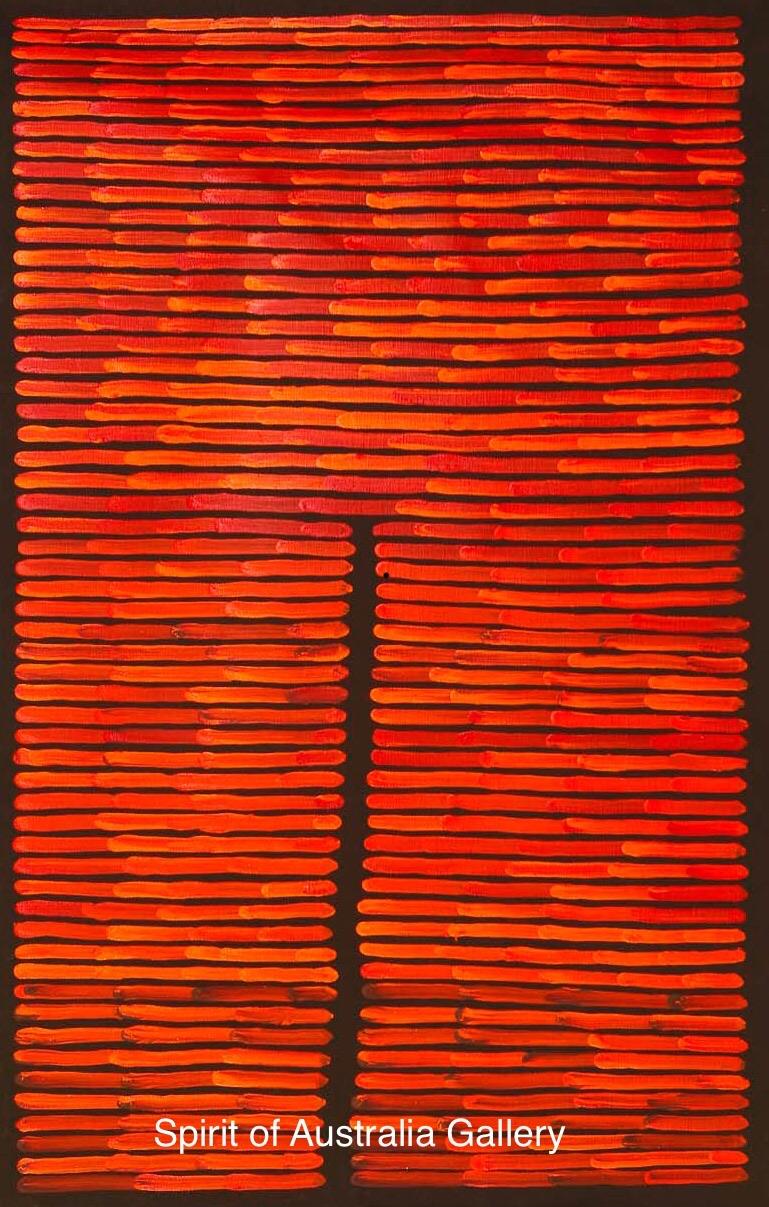 """Ronnie Tjampitjinpa, """"Fire Dreaming"""", 95x60cm"""