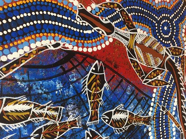 "John Turnbull, ""Hunting for food on Riverbank"", 150x45cm"