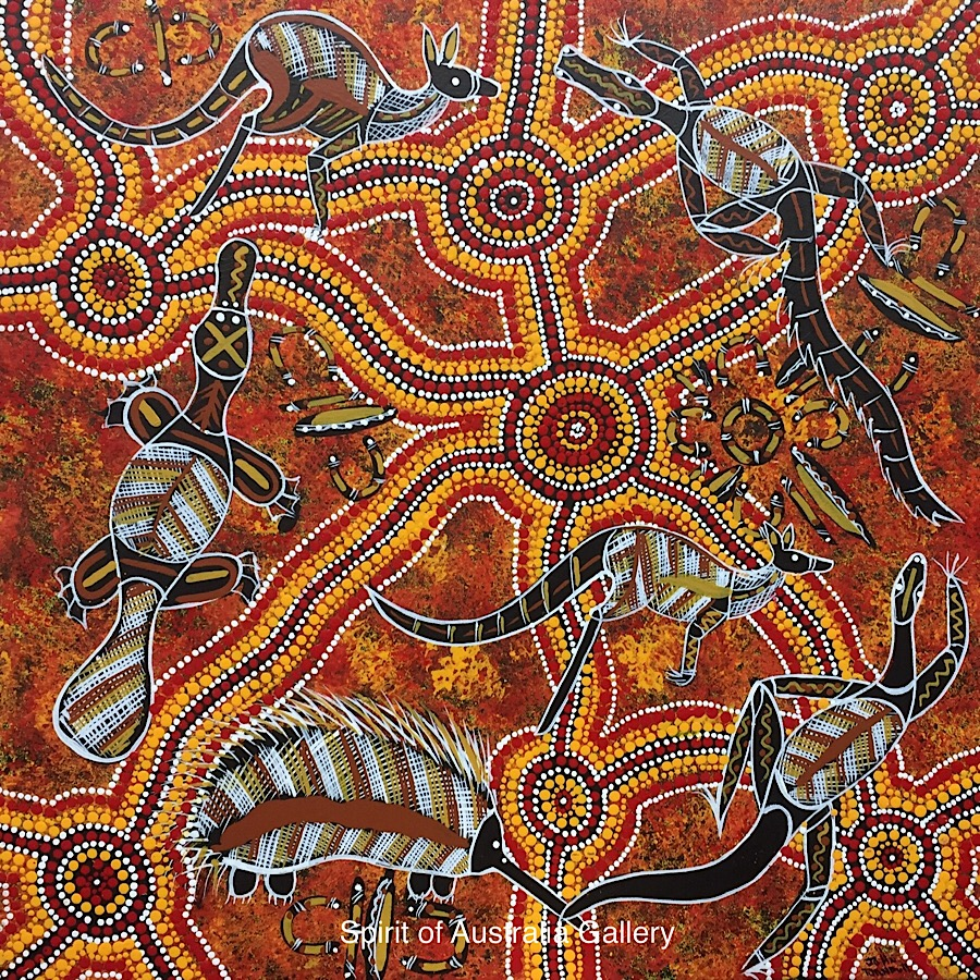 "John Turnbull, ""Animals around Waterholes"", 55x55cm"